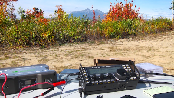Here's my Elecraft KX3 at Katahdin Woods and Waters. I brought a larger BioennoPower battery pack because I thought I'd be crashing through a six-hour pileup. (C) Copyright 2016 Tim Carter