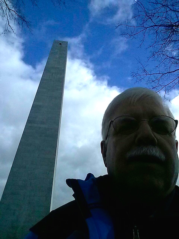 The phone camera's light meter is locked onto the white clouds. It's an impressive obelisk made from gorgeous granite. (C) Copyright 2016 Tim Carter