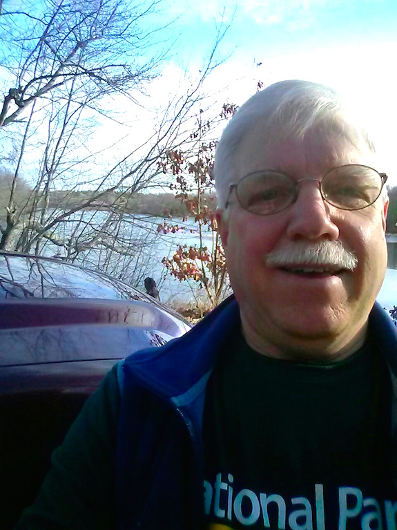 I hate how the lens on cell phone cameras distorts your face for the up-close selfies. You can see the Concord River over my right shoulder. (C) Copyright 2016 Tim Carter