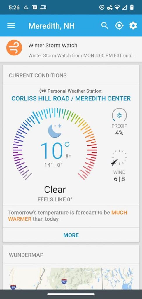 smart phone screenshot weather