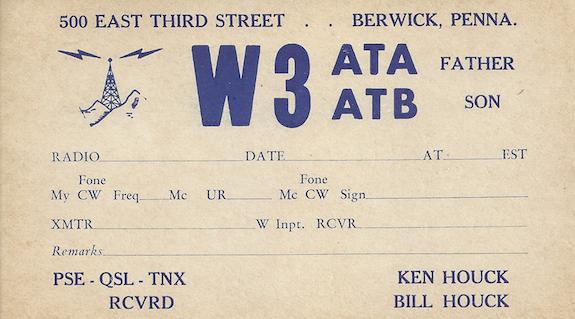 W3ATB QSL card