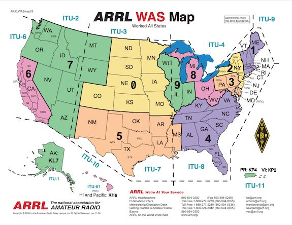 arrl was section map usa
